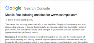 Google search console mobile-first indexing